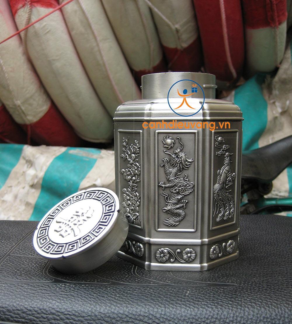 Hộp trà pewter 01