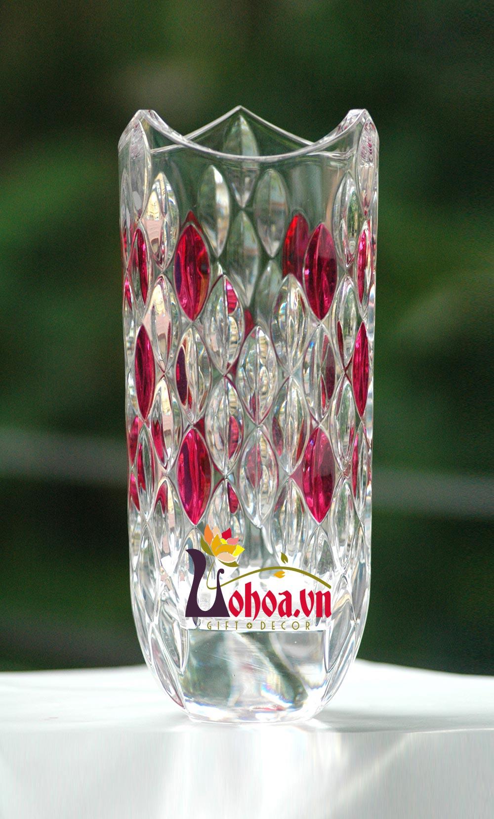 Lọ hoa pha lê mưa màu đổ LĐ05
