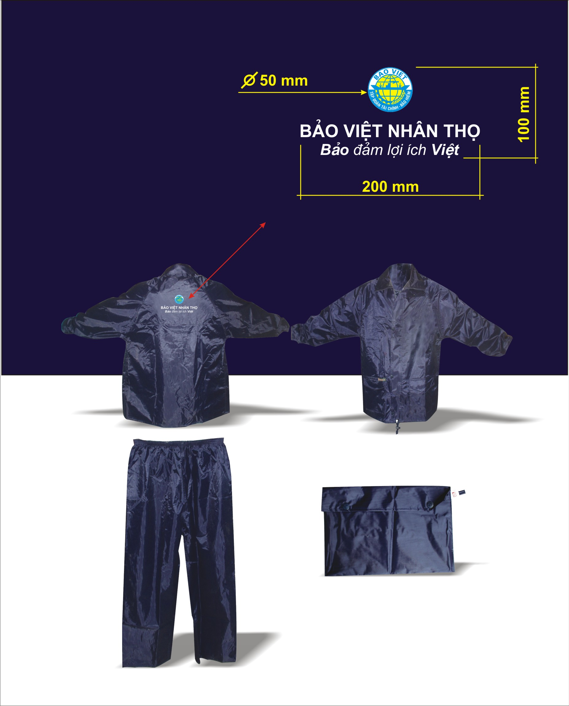 Áo mưa bộ vải dù 10
